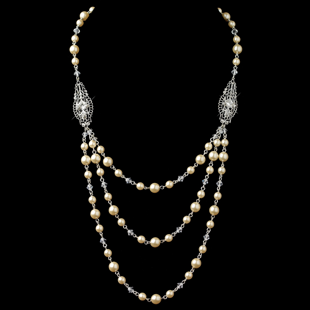 Silver ivory 3 row pearl back dangle necklace for Best glue for pearl jewelry
