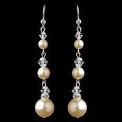 Silver Ivory 3 Row Pearl & Swarovski Crystal Bead Dangle Earrings