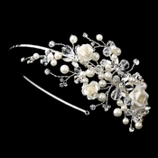 ✧SPECIAL ORDER ONLY✧ Silver Ivory Acrylic Flower Side Headband