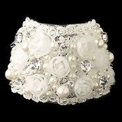Silver Ivory Fabric & Pearl Rose Bracelet 1422