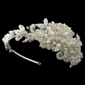 Silver Ivory Floral Lace, Pearl, Swarovski Crystal, Rhinestone & Sequin Side Headband***Discontinued***