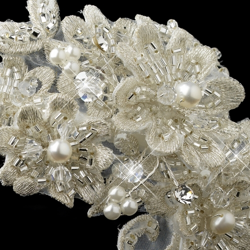 Silver Ivory Floral Lace, Pearl, Swarovski Crystal, Rhinestone & Sequin Side Headband