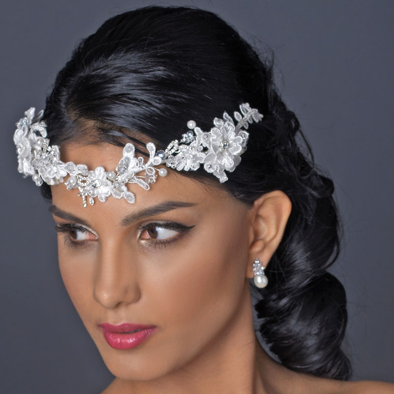 Silver Ivory Floral Lace Side Headband With Pearl