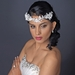 Silver Ivory Floral Lace Side Headband with Pearl, Swarovski Crystal, Rhinestone & Sequin Accents