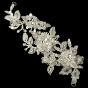 Silver Ivory & Light Silver Floral Thread Embroidery Flexible Floral Headpiece w/ Pearls, Sequins & Rhinestones