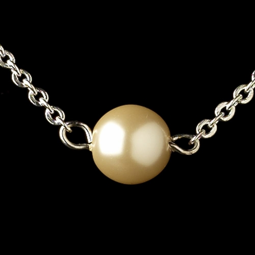 Silver Ivory Pearl Chain Necklace 9715