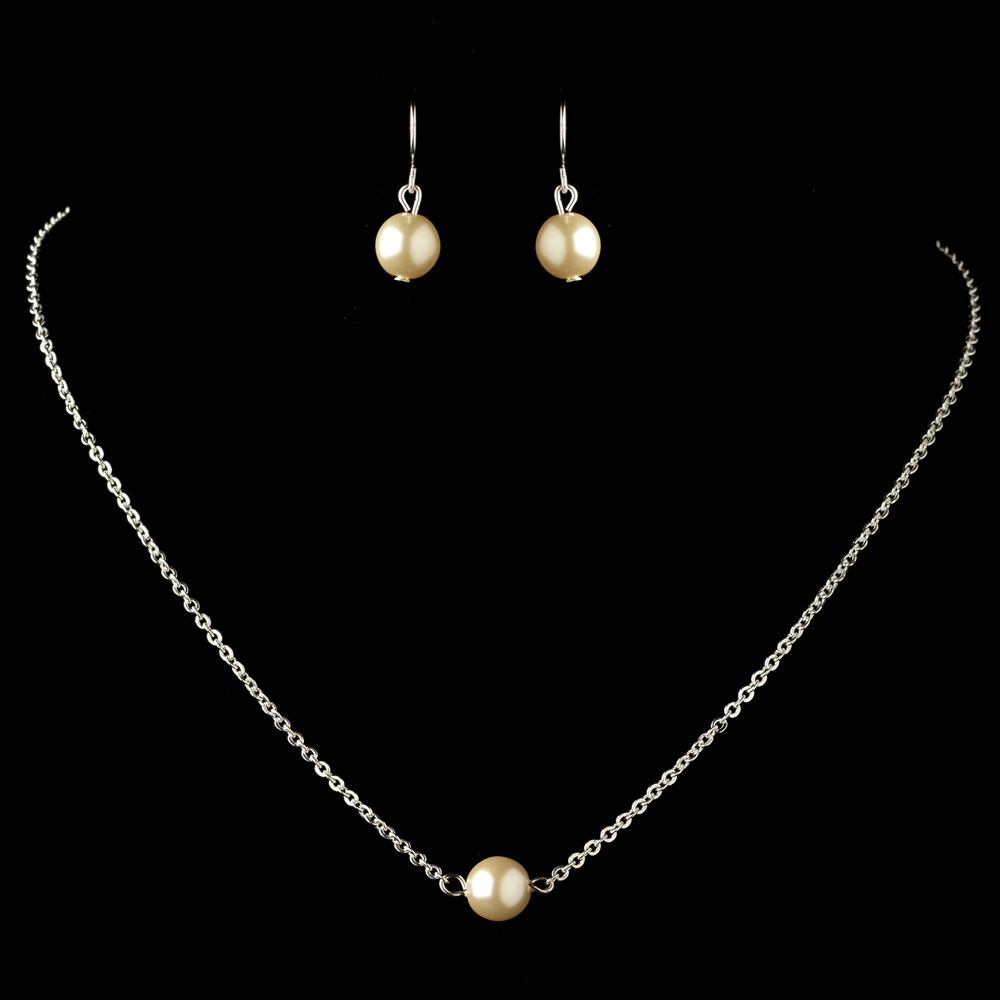 Silver ivory pearl jewelry set 9715 for Best glue for pearl jewelry
