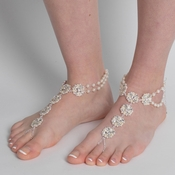 Silver Ivory Pearl & Rhinestone Bridal Wedding Foot Jewelry 8