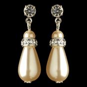 Silver Ivory Pearl & Rhinestone Dangle Earrings 8828