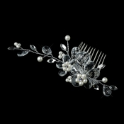 Silver Ivory Pearl & Rhinestone Flower Comb 4710