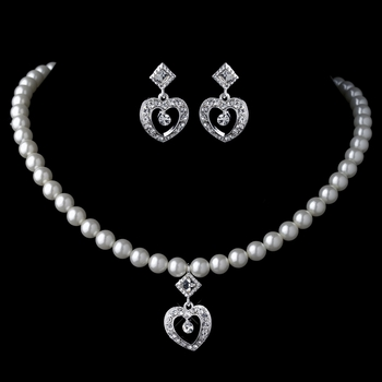 Silver Ivory Pearl & Rhinestone Heart Child's Jewelry Set 466