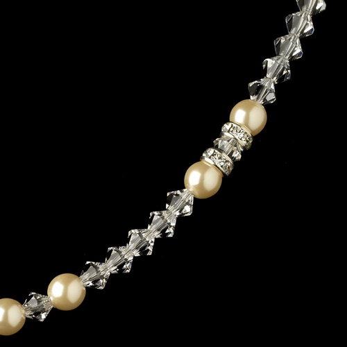Silver Ivory Pearl, Rhinestone & Rondelle Necklace