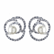 Silver Ivory Pearl & Rhinestone Rose Stud Earrings 76013