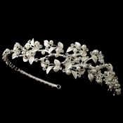 Silver Light Ivory Pearl & Rhinestone Vine Side Headband 1542