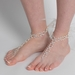 Silver Ivory Pearl & Rhinestone XOXO Bridal Wedding Foot Jewelry 10