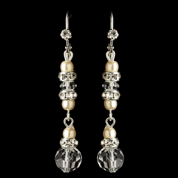 Silver Ivory Pearl, Rondelle & Rhinestone Leverback Dangle Earrings 9717