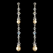 Silver Ivory Pearl & Swarovski Crystal Bead Dangle Earrings 9718