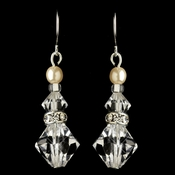 Silver Ivory Pearl & Swarovski Crystal Bead Hook Drop Earrings 9713