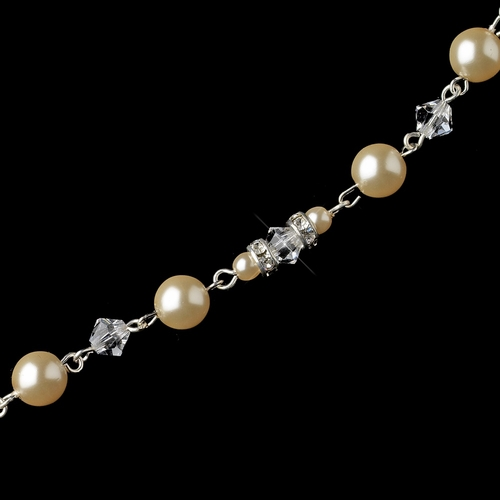 Silver Champagne Ivory Pearl & Swarovski Crystal Bead Jewelry Extender 5