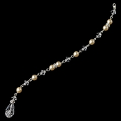 Silver Champagne Ivory Pearl & Swarovski Crystal Bead Jewelry Extender 6
