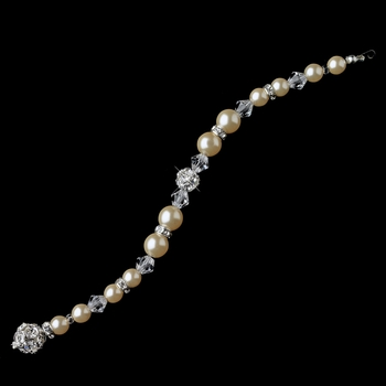 Silver Champagne Ivory Pearl & Swarovski Crystal Bead Jewelry Extender 8