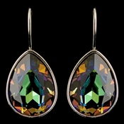 Silver Jet AB Swarovski Crystal Element Teardrop Leverback Earrings 9602