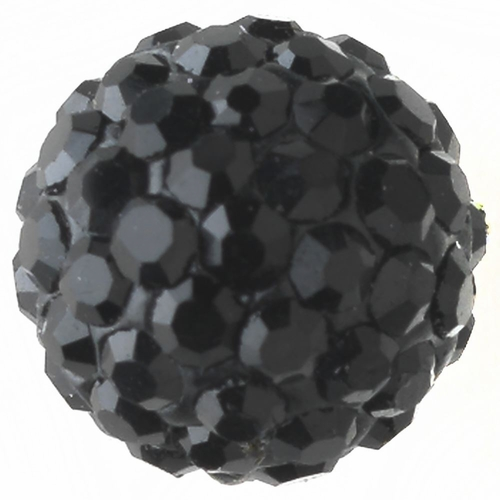 Silver Jet Black Pave Ball Encrusted Earrings 40721