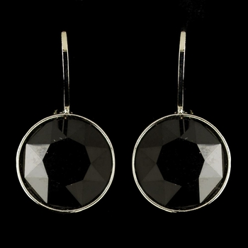 Silver Jet Black Swarovski Crystal Element Round Leverback Earrings 9600
