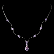 Silver Light Amethyst CZ Crystal Necklace 2701