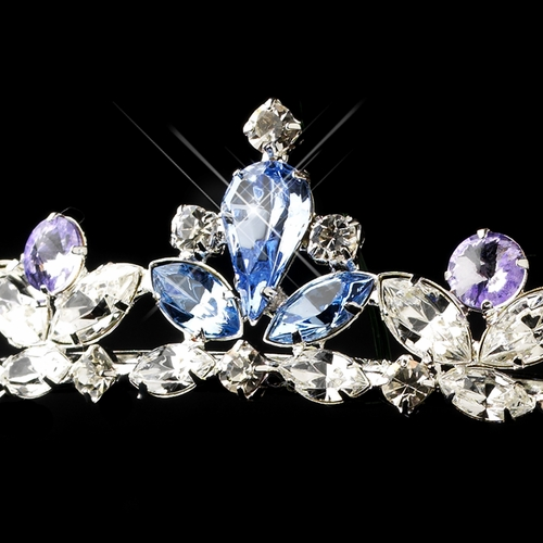 Silver Light Blue & Amethyst Clear Rhinestone Princess Tiara Headpiece 3244