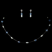 Silver Light Blue Swarovski Crystal Bead & Rhinestone Illusion Jewelry Set
