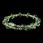 Silver Light Mint Green & Clear Swarovski Crystal Coil Adjustable Stretch Bracelet 9714