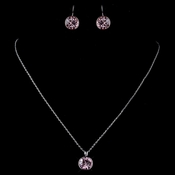 Silver Light Rose Round Swarovski Element Crystal Jewelry Set 9600