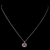 Silver Light Rose Round Swarovski Crystal Element On Chain Necklace 9600