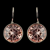 Silver Light Rose Swarovski Crystal Element Round Leverback Earrings 9600