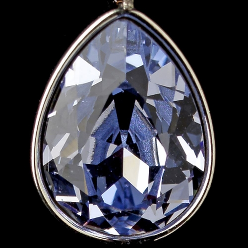 Silver Light Sapphire Swarovski Crystal Element Teardrop Leverback Earrings 9602