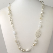 Silver Light Topaz And Cream Faceted Glass Crystal Fashion Necklace 9526
