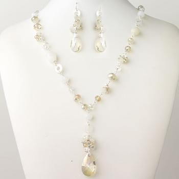 Silver Light Topaz, Champagne & Cream Faceted Glass Fashion Jewelry Set 9507