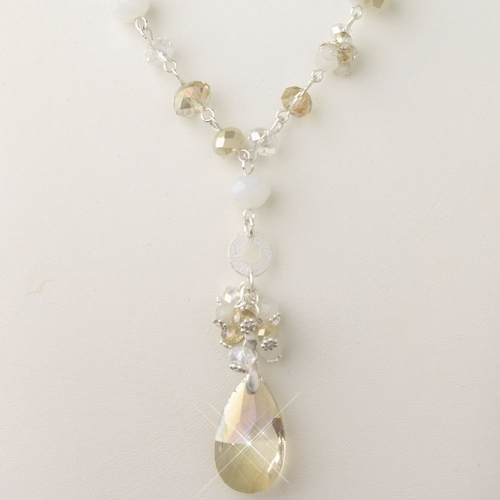 Silver Light Topaz, Champagne & Cream Faceted Glass Fashion Necklace 9507