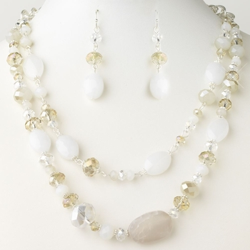 Silver Light Topaz Faceted Glass Crystal Fashion Necklace 9525 & Earrings 9527 Jewelry Set