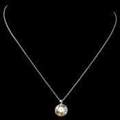 Silver Light Topaz Round Pendant Necklace