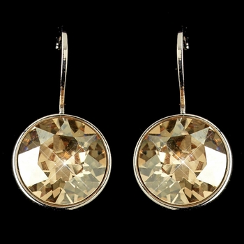 Silver Light Topaz Swarovski Crystal Element Round Leverback Earrings 9600