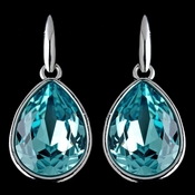 Silver Light Turquoise Swarovski Crystal Element Large Teardrop Hook Earrings 9604