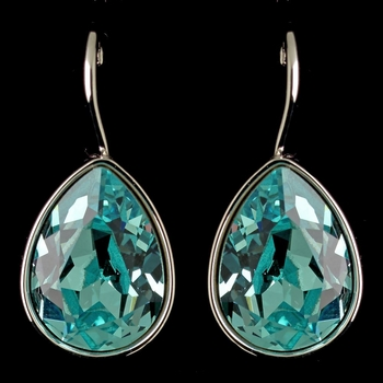 Silver Light Turquoise Swarovski Crystal Element Teardrop Leverback Earrings 9602