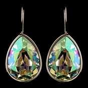 Silver Luminous Green Swarovski Crystal Element Teardrop Leverback Earrings 9602