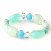 Silver Mint Green & Aqua Faceted Glass Stretch Bracelet 9508