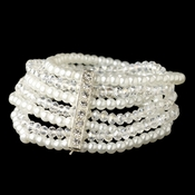Silver Multi 7 Strand White Pearl & Light AB Swarovski Crystal Stretch Bracelet 4983