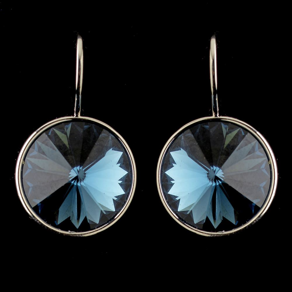 c3229f4ce Silver Navy Blue Swarovski Crystal Element Large Round Leverback Earrings  9603