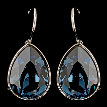 Silver Navy Blue Swarovski Crystal Element Teardrop Leverback Earrings 9602