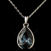 Silver Navy Swarovski Crystal Element Teardrop Pendant Necklace 9602